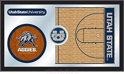 Holland Bar Stool NCAA Basketball Mirror Framed Graphic Art; Utah State