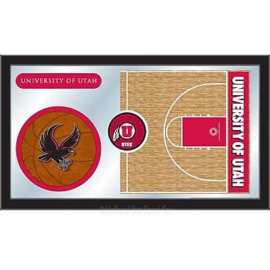 Holland Bar Stool NCAA Basketball Mirror Framed Graphic Art; Utah