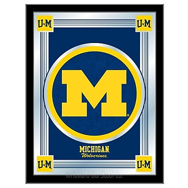 Holland Bar Stool NCAA Logo Mirror Framed Graphic Art; Michigan