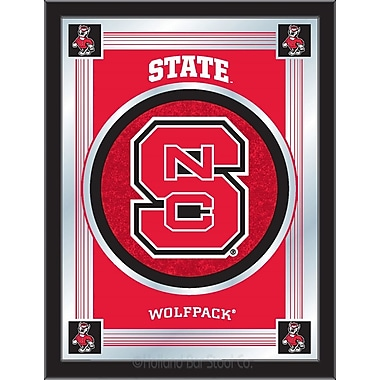 Holland Bar Stool NCAA Logo Mirror Framed Graphic Art; North Carolina State