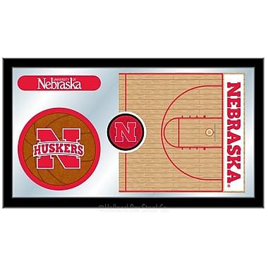 Holland Bar Stool NCAA Basketball Mirror Framed Graphic Art; Nebraska