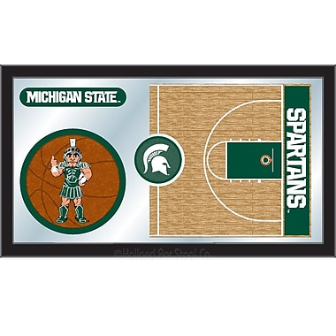 Holland Bar Stool NCAA Basketball Mirror Framed Graphic Art; Michigan State