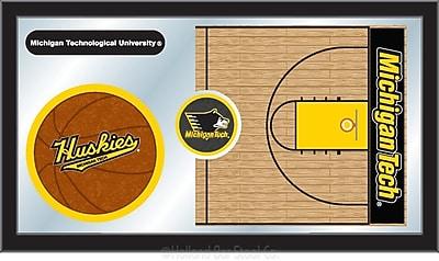 Holland Bar Stool NCAA Basketball Mirror Framed Graphic Art; Michigan Tech