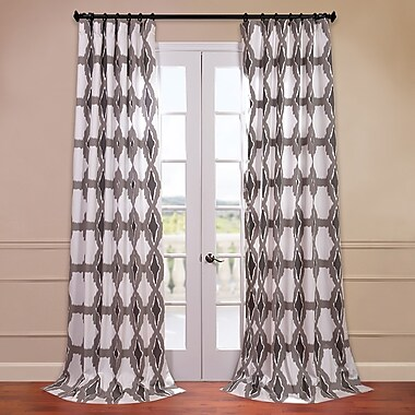 Half Price Drapes Sorong Printed Cotton Tab Top Single Curtain Panel; 50'' W x 84'' L