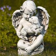 Roman, Inc. Cherub w/ Puppy Statue