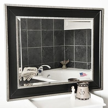 Rayne Mirrors Black w/ Silver Cage Trim Wall Mirror; 41.25'' H x 35.25'' W x 2'' D