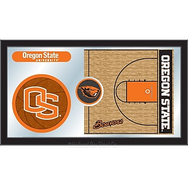 Holland Bar Stool NCAA Basketball Mirror Framed Graphic Art; Oregon State