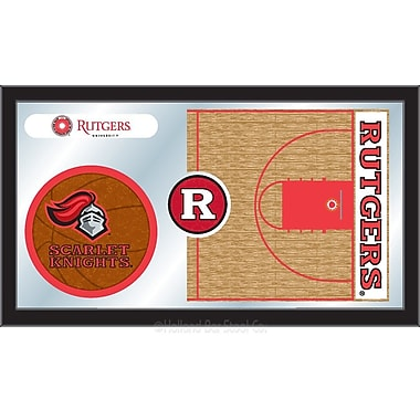 Holland Bar Stool NCAA Basketball Mirror Framed Graphic Art; Rutgers