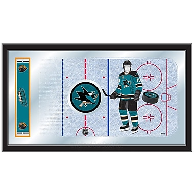 Holland Bar Stool NHL Hockey Rink Mirror Framed Graphic Art; San Jose Sharks