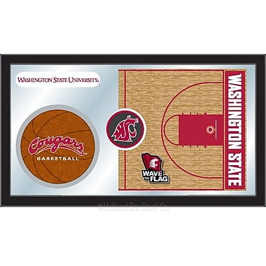 Holland Bar Stool NCAA Basketball Mirror Framed Graphic Art; Washington State