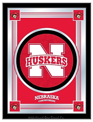 Holland Bar Stool NCAA Logo Mirror Framed Graphic Art; Nebraska