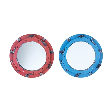 Woodland Imports Porthole Wall Mirror (Set of 2)