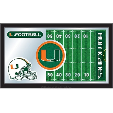 Holland Bar Stool NCAA Football Mirror Framed Graphic Art; Miami