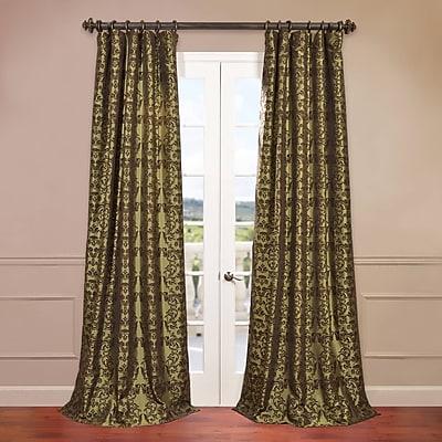 Half Price Drapes Firenze Fern Flocked Faux Silk Single Curtain Panel; 50'' W x 84'' L