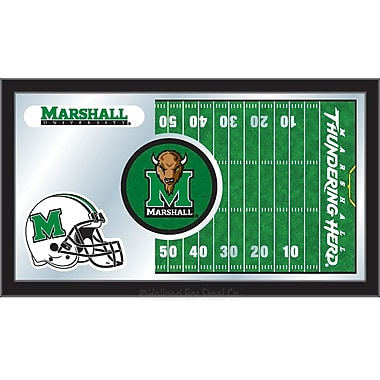 Holland Bar Stool NCAA Football Mirror Framed Graphic Art; Marshall