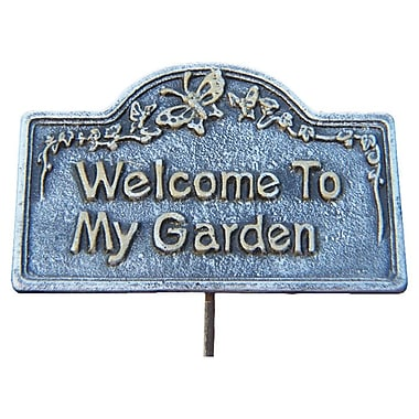 Oakland Living Welcome To My Garden Sign; Antique Pewter