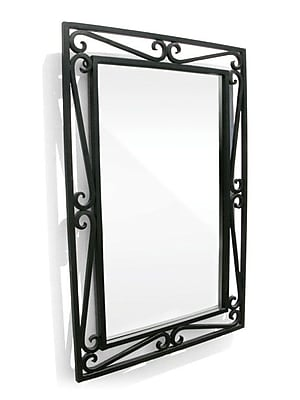 D'Vontz Iron Cantilevered Scroll Mirror; Black Iron