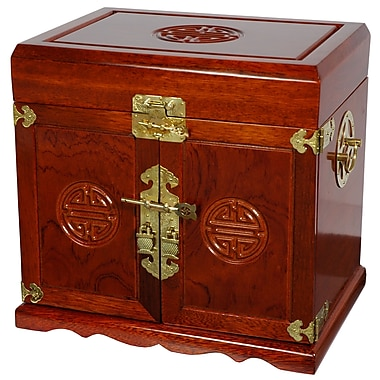 Oriental Furniture Lacquer Jewelry Armoire; Honey Lacquer