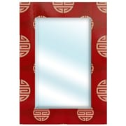 Oriental Furniture Lacquer Shou Rectangular Mirror