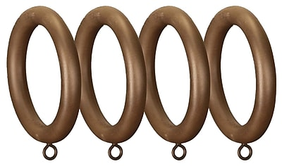 Menagerie Compatible Smooth Drapery Curtain Ring (Set of 4); Faux Wood