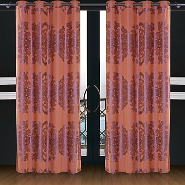 Dolce Mela Dolce Mela Areon Damask Blackout Thermal Grommet Single Curtain Panel