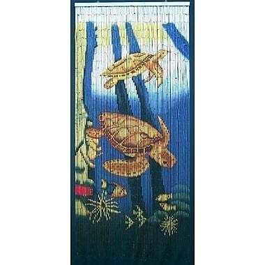 Bamboo54 Sea Turtle Scene Graphic Print & Text Semi-Sheer Single Curtain Panel