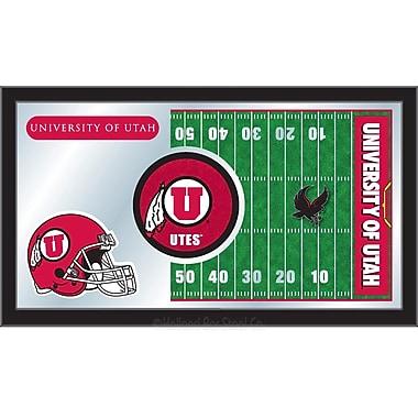 Holland Bar Stool NCAA Football Mirror Framed Graphic Art; Utah