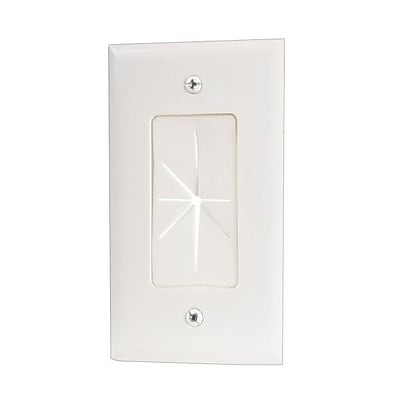 RCA Rubber Pass Through Wall Plate, White (VH64R)