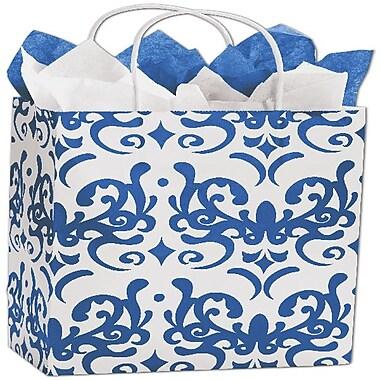 Bags & BowsMD – Sacs de magasinage Classicality, 8 1/4 x 4 3/4 x 10 1/2 (po), bleu, 100/paquet