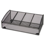 "Lorell 4-Compartment Steel Mesh Desk Valet, 4-1/2""(H) x 12-3/10""(W) x 6-3/10""(D), Black"