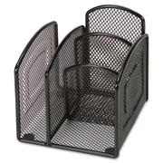 "Lorell 4-Compartment Steel Mesh Desk Valet, 4-1/2""(H) x 12-3/10""(W) x 6-3/10""(D), Black (LLR37522)"