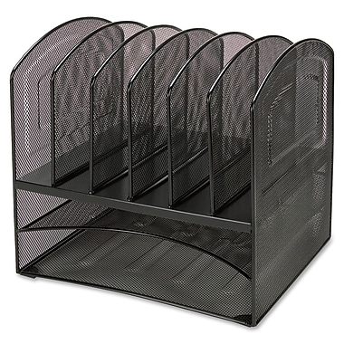Lorell 8-Compartment Steel Horizontal Vertical Mesh Desk Organizer, Black