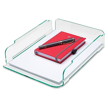 Lorell Single Stacking Letter Tray, Clear Green