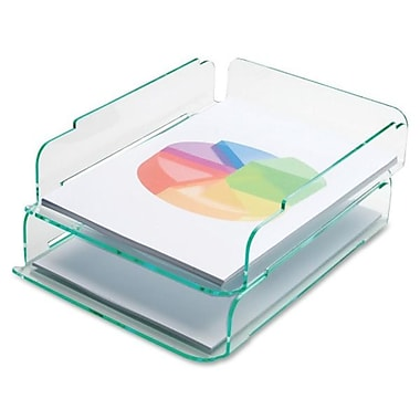 Lorell Stacking Letter Trays, Clear Green