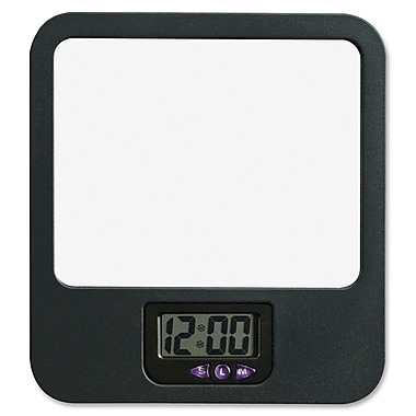 Lorell Fabric Panel Digital Clock Mirror, Black