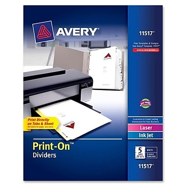 AveryMD – Intercalaires personnalisables Print-OnMC, 9 1/2 x 11 po, blanc, 25/bte