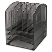 Lorell – Range-tout de bureau horizontal en maille d'acier à 5 compartiments, 13 haut. x 9 1/2 larg. x 11 2/5 prof. (po), noir