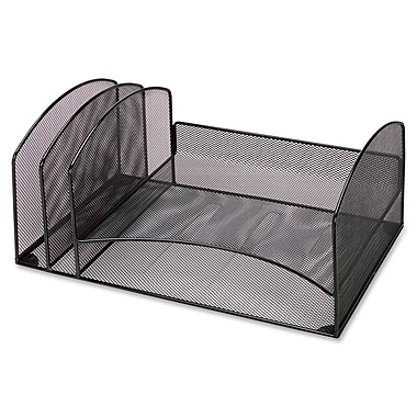 Lorell 2-Compartment Steel Mesh Desktop Organizer, Black