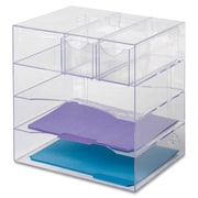 "Rubbermaid 5-Compartment Wall Mountable Optimizer Four-Way Organizer with Drawers, 10""(H) x 13-3/10""(W) x 13-3/10""(D), Clear"