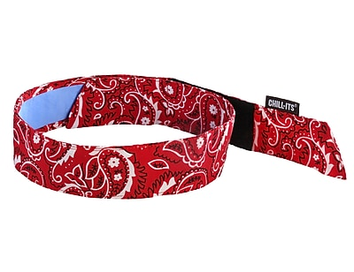 Ergodyne® Chill-Its® 6705 Evaporative Bandana With Cooling Towel, Red Western
