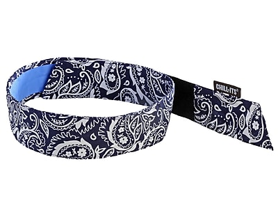 Ergodyne® Chill-Its® 6705 Evaporative Bandana With Cooling Towel, Navy Western