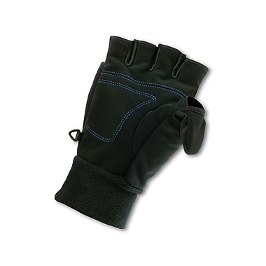 Ergodyne® ProFlex® 816 Synthetic Suede Thermal Flip-Top Mittens, Black, Medium