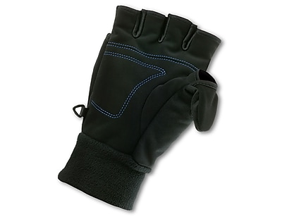 Ergodyne® ProFlex® 816 Synthetic Suede Thermal Flip-Top Mittens, Black, XL