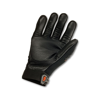 Ergodyne® ProFlex® Pigskin Leather Anti-Vibration Gloves W/Dorsal Protection, Black, Small