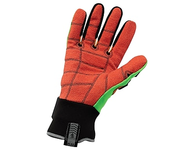 Ergodyne® ProFlex® Kevlar® Cut Puncture and Dorsal Impact-Reducing Gloves, Lime/Orange, XS