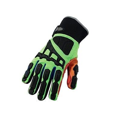 Ergodyne® ProFlex® Kevlar® Thermal Waterproof Cut Dorsal Impact-Reducing Gloves, Lime/Orange, Small