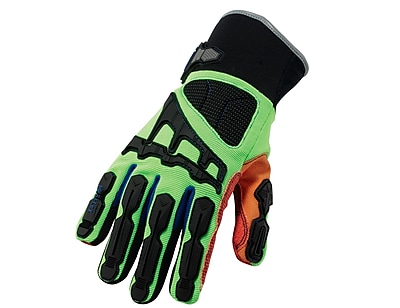 Ergodyne® ProFlex® Kevlar® Thermal Waterproof Cut Dorsal Impact-Reducing Gloves, Lime/Orange, XL