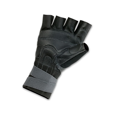 Ergodyne® ProFlex® 910 Pigskin Leather/Spandex Impact Gloves With Wrist Support, Black, Large