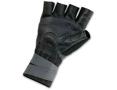 Ergodyne® ProFlex® 910 Pigskin Leather/Spandex Impact Gloves With Wrist Support, Black, XL