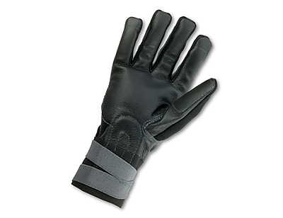 Ergodyne® ProFlex® Pigskin Leather Certified Anti-Vibration Gloves With Wrist Support, Black, XL